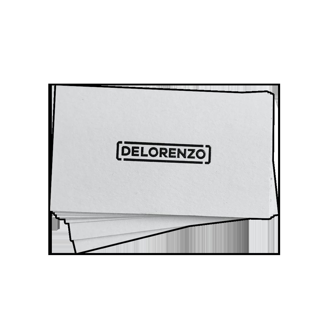 delorenzo business card design deboss with black foil